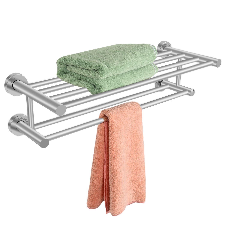 Homdox 22.8'' Towel Rack with Double Towel Bar Wall Mount Shelf Rustproof Stainless Steel Home Hotel-22.8 x 8.6 x 5.7inch.