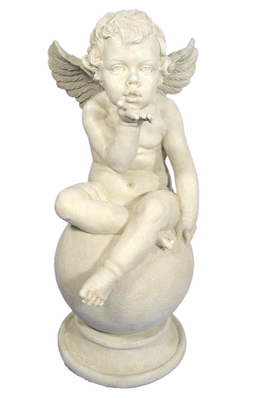 Casa Collection 04251 Engel Kußhand auf Kugel, Höhe 68 cm, antikweiß
