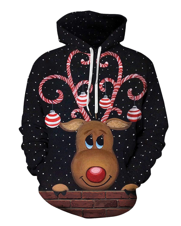Yidarton Sweats à Capuche Homme Sweatshirt Noël 3D Print