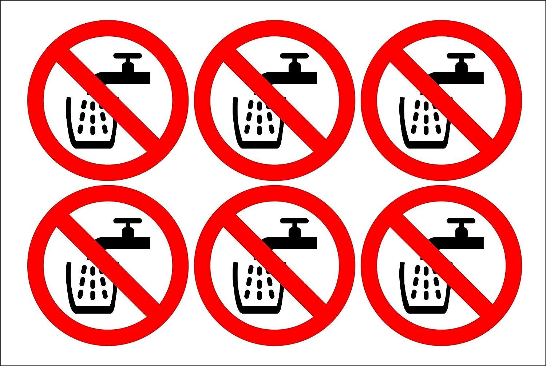 Schule Sicherheit B/üro 100mm x 100mm Firma INDIGOS UG Kein Trinkwasser Aufkleber 6 St/ück//Bogen Warnung