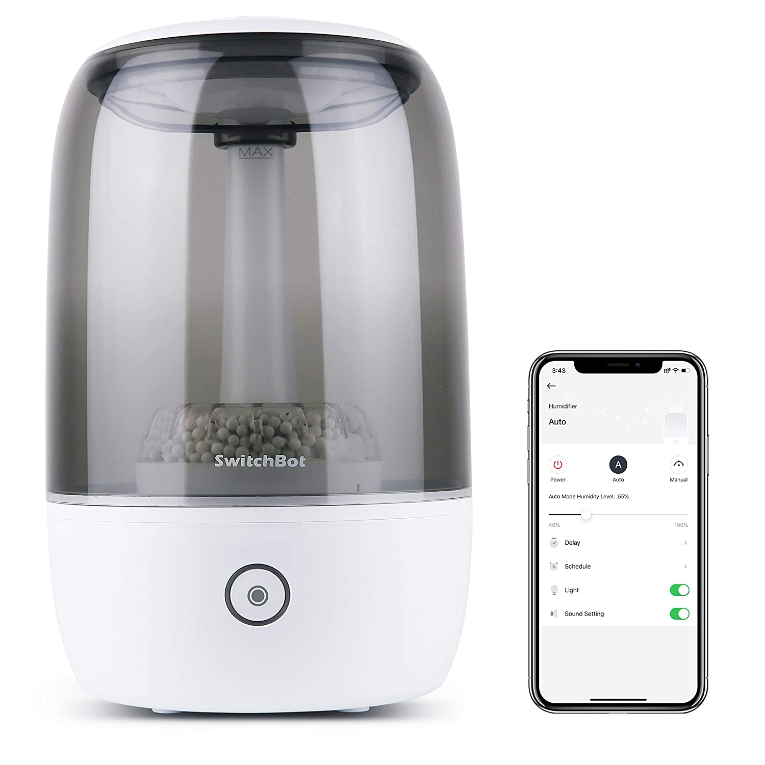 SwitchBot Wi-Fi Smart Ultrasonic Humidifier, Large 3.5L Cool Mist for Bedroom, Top-fill Design, Essential Oil Diffuser (Compatible with Alexa, Google Home, HomePod & IFTTT)