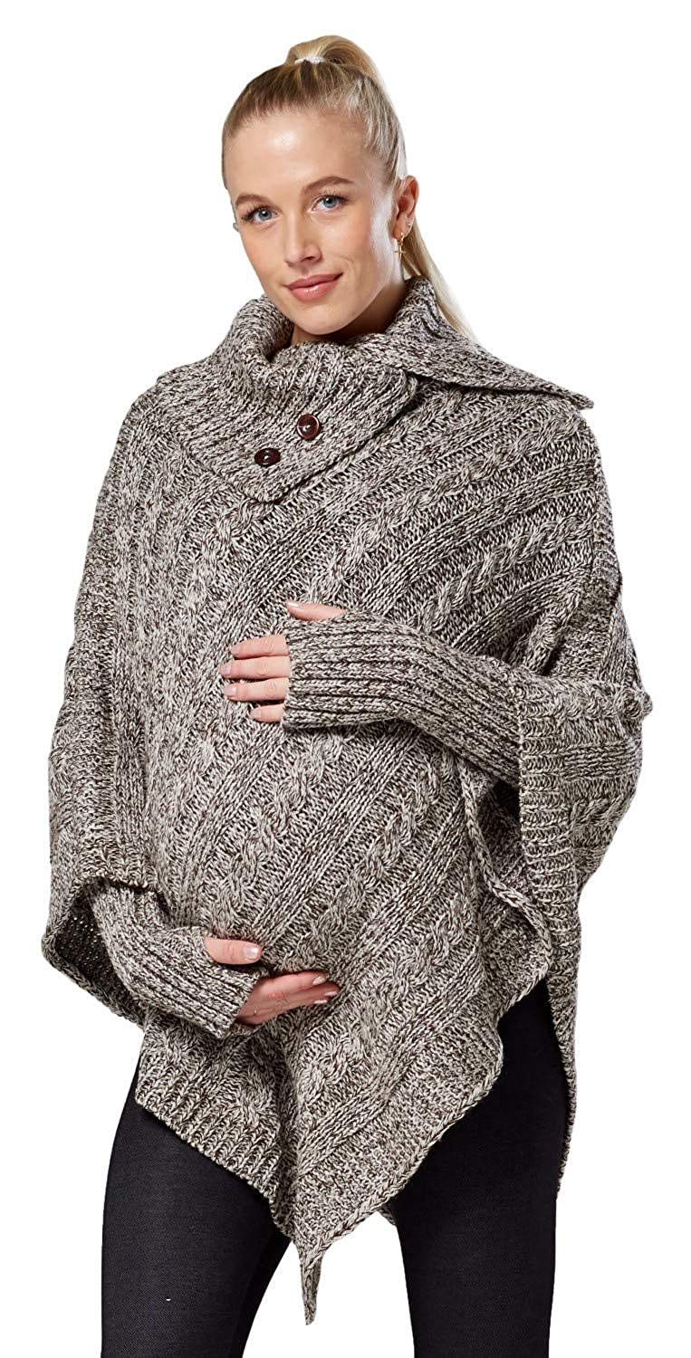 Happy Mama Womens Maternity Knit Poncho Textured Sweater Turtleneck 968p ONE Size US 4/6/8 one Size) Poncho_968_4