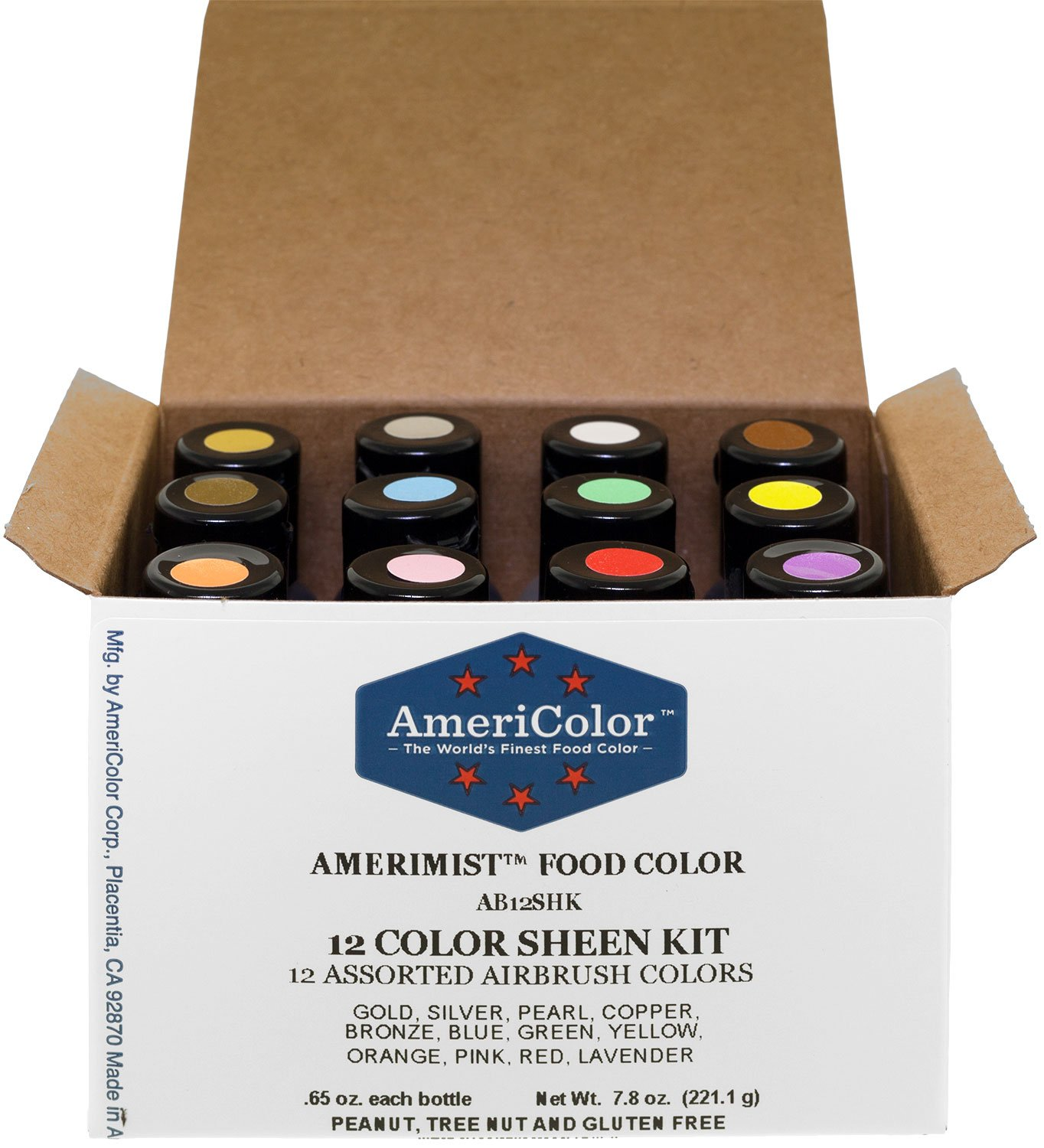 Americolor 12 Color SHEEN - PEARLESCENT Airbrush Color Kit  7.8 oz.  Ounce (0.65 Oz each bottle) 2 Americolor 12 color sheen kit It has coloring strength superior to any other food color It will not separate or weep and does not harden
