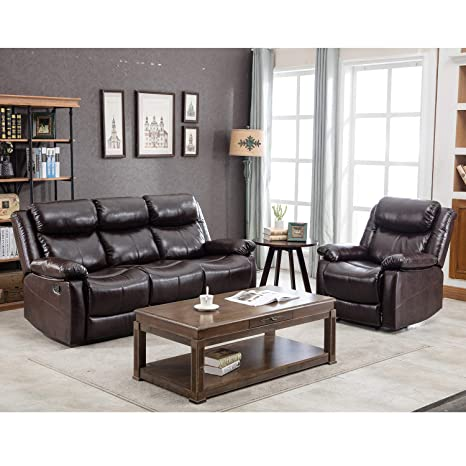 YSKWA PU Leather Sectional Reclining Sofa Classic Recliner Sofa  (Recliner+3-Seat)
