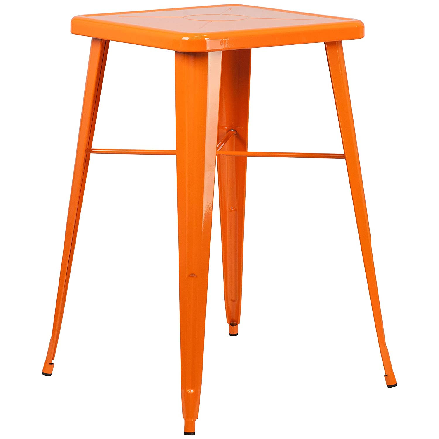 Flash Furniture 23.75 Square Orange Metal Indoor-Outdoor Bar Table Set with 2 Square Seat Backless Stools