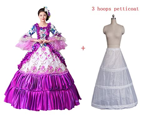 Zukzi Womens Embroidered Rufled Victoria Gothic Lolita Prom Dress with 3 Hoops Petticoat, 201,