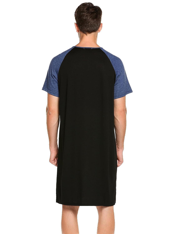 c7d7559e Amazon.com: Langle Men Sleep Shirts Short Sleeve Nightshirt Big & Tall Long  Nightwear Nightgown M-XXXL: Clothing