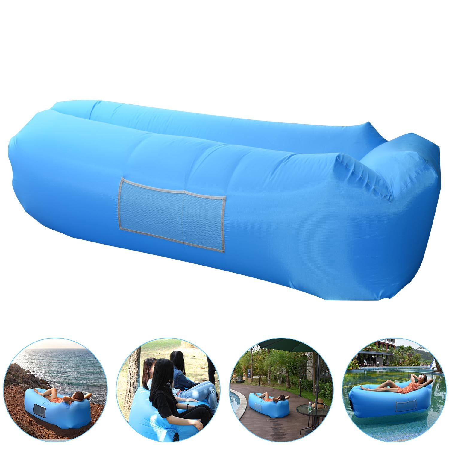 Sofa Hinchable, AngLink Sofa Inflable Portatil Impermeable Durable Ligero Poliéster Sofá al Aire Libre Aire con Almohada para Camping, Playa, Parque, Patio