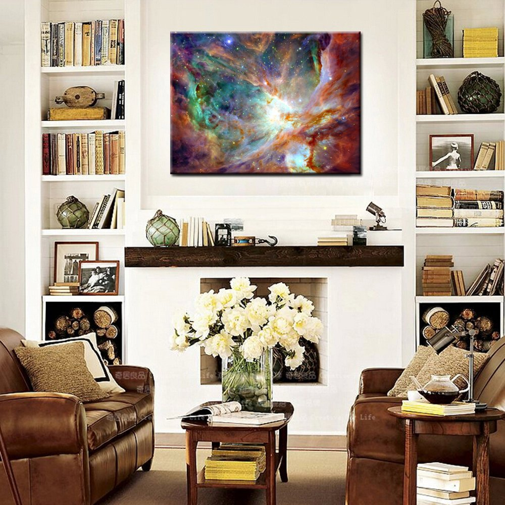 Kreative Arts Canvas Prints Wall Art Cosmic Cloud Stars Nebula Night Sky Picture NASA Modern Wall Decor Home Decoration Stretched Gallery Canvas Wrap Giclee Print Ready to Hang 24x36 Creative Arts Inc 8780