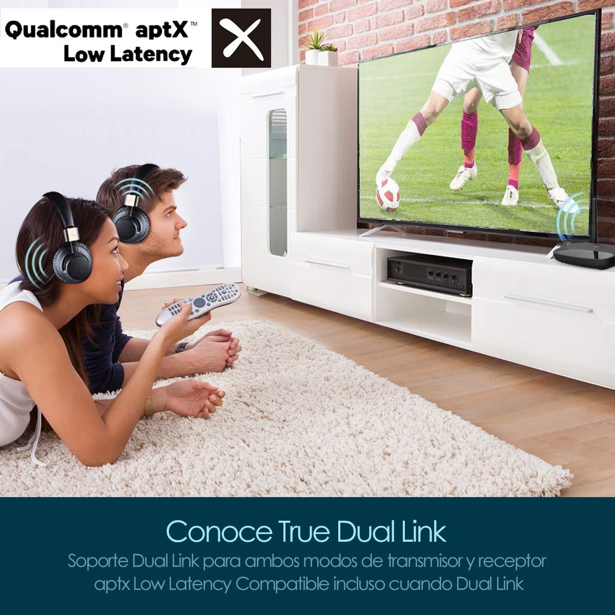 Transmisor Bluetooth,VIFLYKOO 50M High Range 3 en 1 Adaptador Bluetooth para Auriculares y Altavoz, aptX Baja latencia en Dual Link, Par 2 en Modo TX y RX, ...