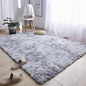 Noahas Abstract Shaggy Rug for Bedroom Ultra Soft Fluffy Carpets for Kids Nursery Teens Room Girls Boys Thick Accent Rugs Home Bedrooms Floor Decorative, 4 ft x 6 ft, Light Grey