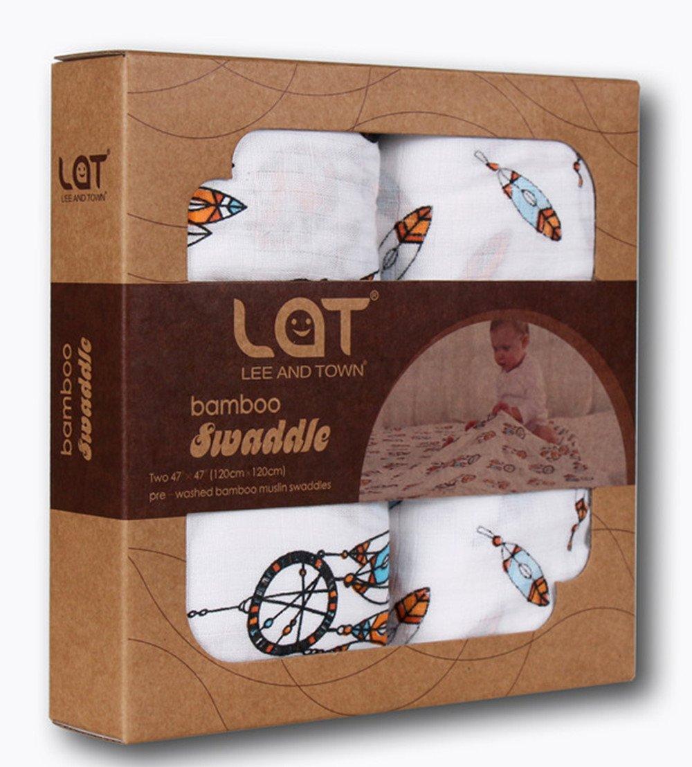 Musselin Swaddle Puckt/ücher aus Puckdecken,Mullwindeln f/ür Junge und M/ädchen,70/% Bambus und 30/% Baumwolle Musselin Decken 2 Pack