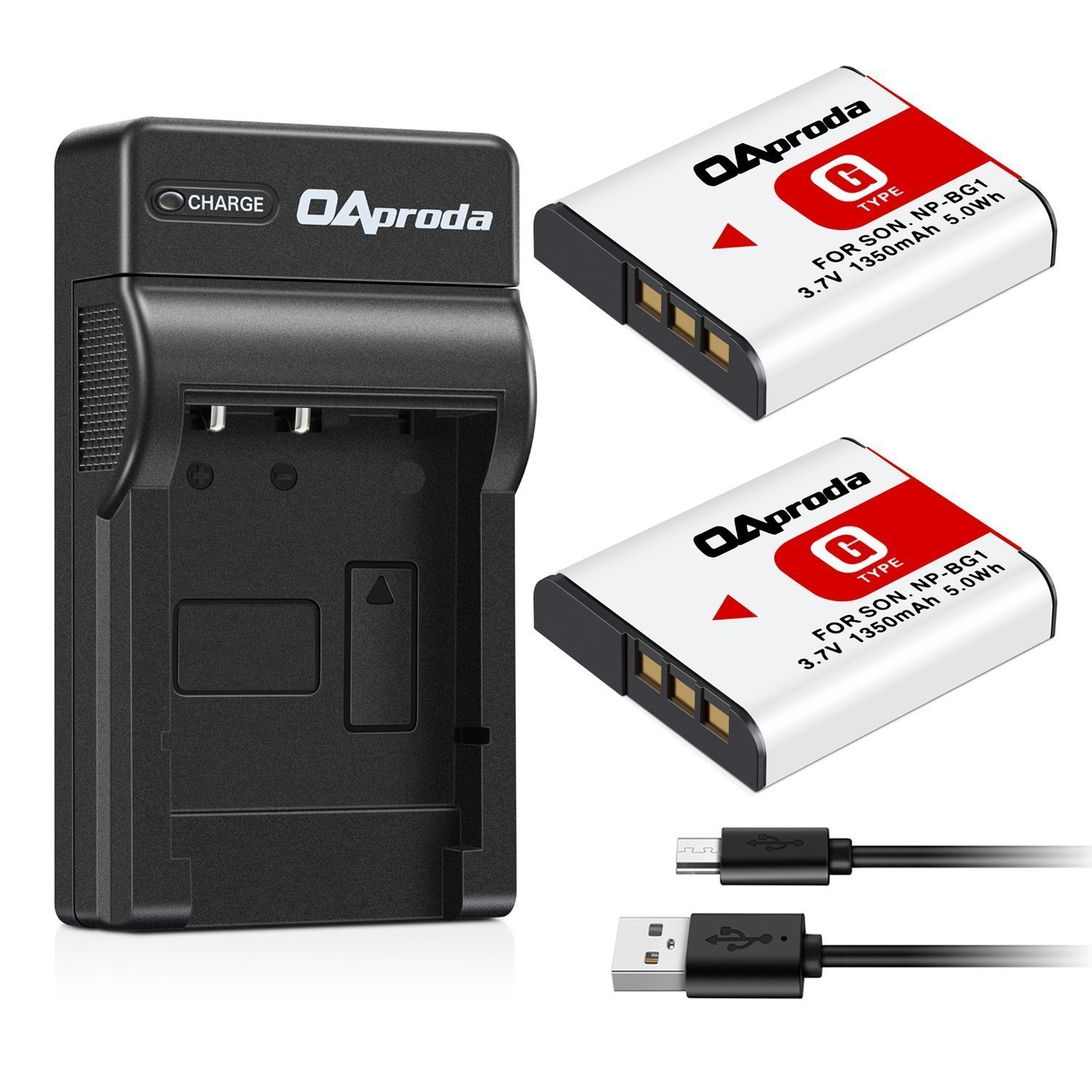 OAproda Replacement NP-BG1 Battery (2 Pack) and Ultra Slim Micro USB Battery Charger for Sony NP-FG1, CyberShot DSC-W30, W35, W50, W55, W70, W80, WX1, WX10, HX9V, H10, H20, H70, H50, H55, H90 by OAproda
