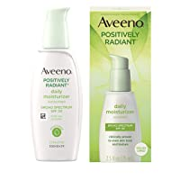 Aveeno Positively Radiant Daily Facial Moisturizer with Broad Spectrum SPF 30 Sunscreen & Total Soy Complex for Even Tone & Texture, Hypoallergenic, Oil-Free & Non-Comedogenic, 2.5 fl. oz