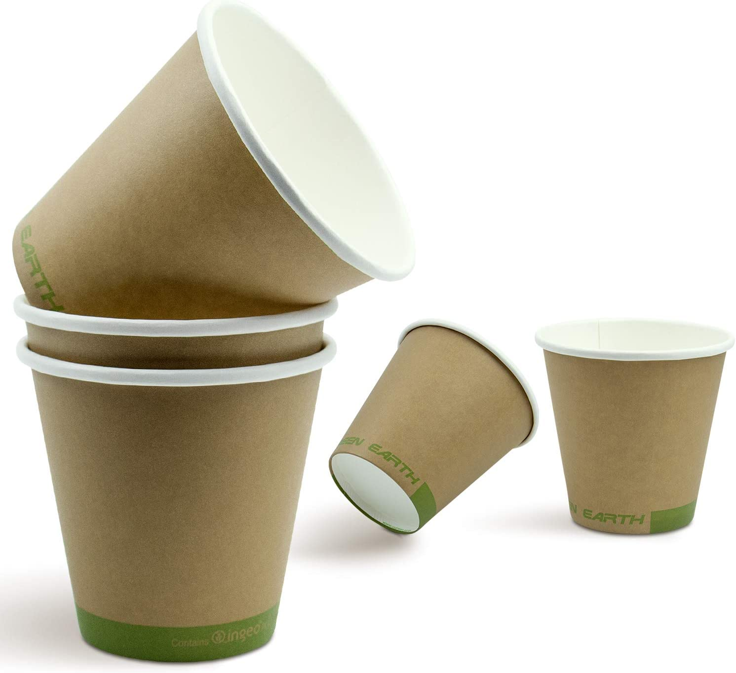Green Earth, 8 oz. Paper Cups - For Hot and Cold Drinks - Kitchen Friendly - Sturdy and Thick (50 Pack)