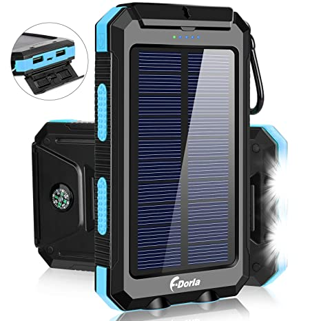 Solar Charger Black Portable 6 Pcs LED Light Solar Power Bank 20000mAh External Battery Pack Charger with Dual USB for Camping Travelling Emergency Outdoor Activities