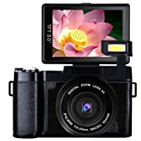 Video Camera Digital Camera Vlogging Camera Full HD1080p 24.0MP Camcorder 3.0 Inch Flip Screen Camera with Retractable Flashlight