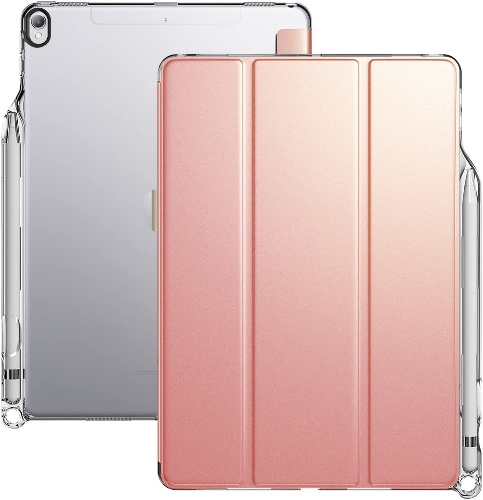 iPad Air 3 Case (10.5 Inch, 2019), iPad Pro 10.5 Case, Poetic Smart Cover with Apple Pencil Holder, Flexible Soft Clear TPU Back, Slim Fit Trifold Stand Folio Front, Lumos X Series, Rose Gold/Clear