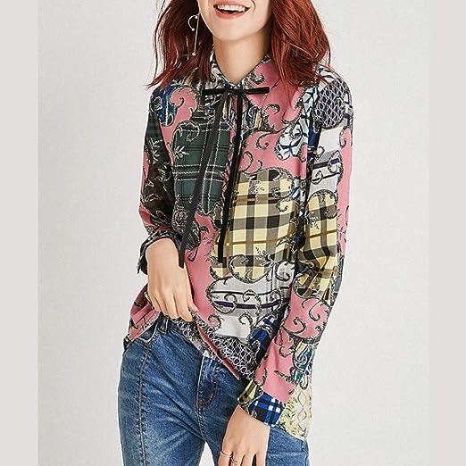 Julia Camisa de Seda Impresa Primavera Mujer Pesada de Manga Larga Camisa de Moda Top,M: Amazon.es: Hogar