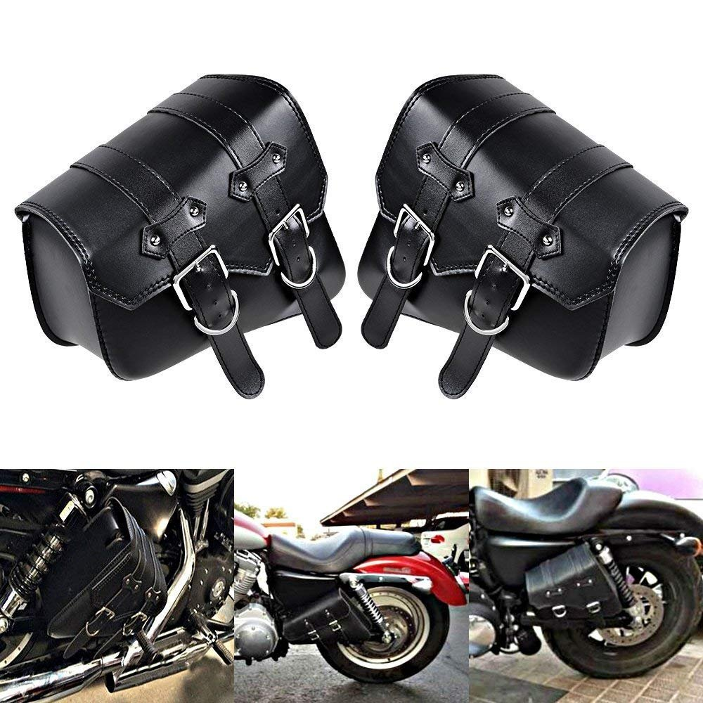 YC 1 Pair (Left & Right) Black PU Leather Right Solo Side Swing Arm Saddle Bag for Harley Davidson Dyna Sportster Cruiser Fat Bob XL883 XL1200 YAN CHEN