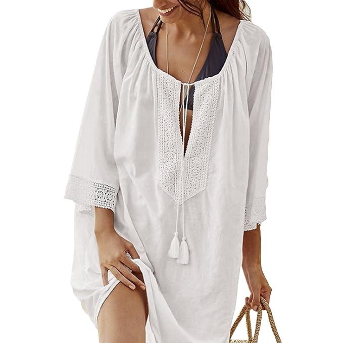 QQI Mujer Algodón Blusa para Mujeres Playa Blusa 3/4 Camisa de Manga Verano Ropa de Playa Traje de Baño para Mujer Falda de Playa: Amazon.es: Ropa y ...