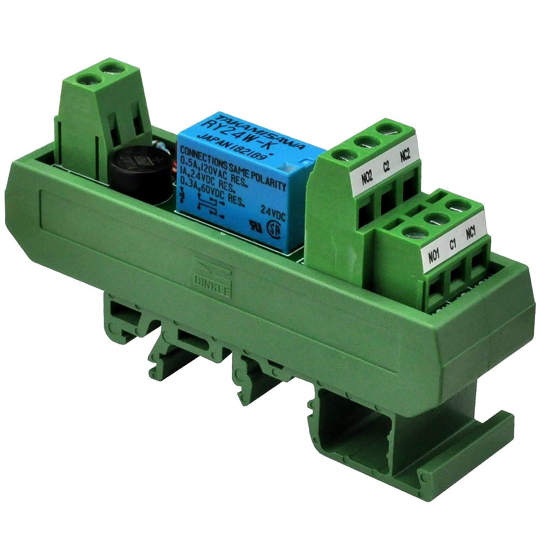 RY5W-K. Electronics-Salon AC//DC 5V Slim DIN Rail Mount DPDT Signal Relay Interface Module