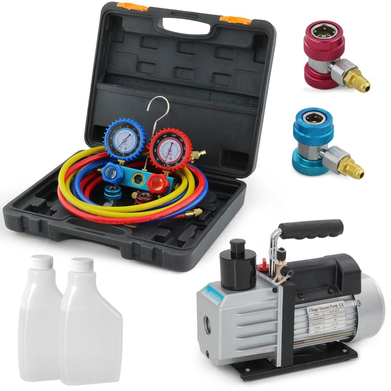 ARKSEN Rotary Vane Vacuum Pump 5-CFM, 1/2-HP, AC Refrigeration A/C, R134A, HVAC