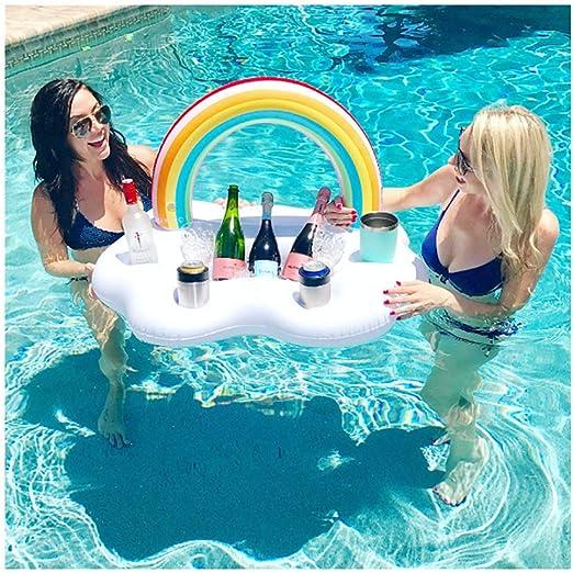 Barra de agua inflable Bebidas Enfriador para la piscina Barra flotante Cerveza titular de la bebida Soporte flotante Puede latas de botellas para la playa de verano Fiesta en la piscina accesorios: