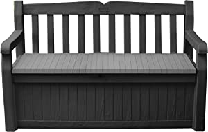 Keter Solana 70 Gallon Storage Bench Deck Box for Patio Furniture, Front Porch Decor and Outdoor Seating – Perfect to Store Garden Tools and Pool Toys, Grey