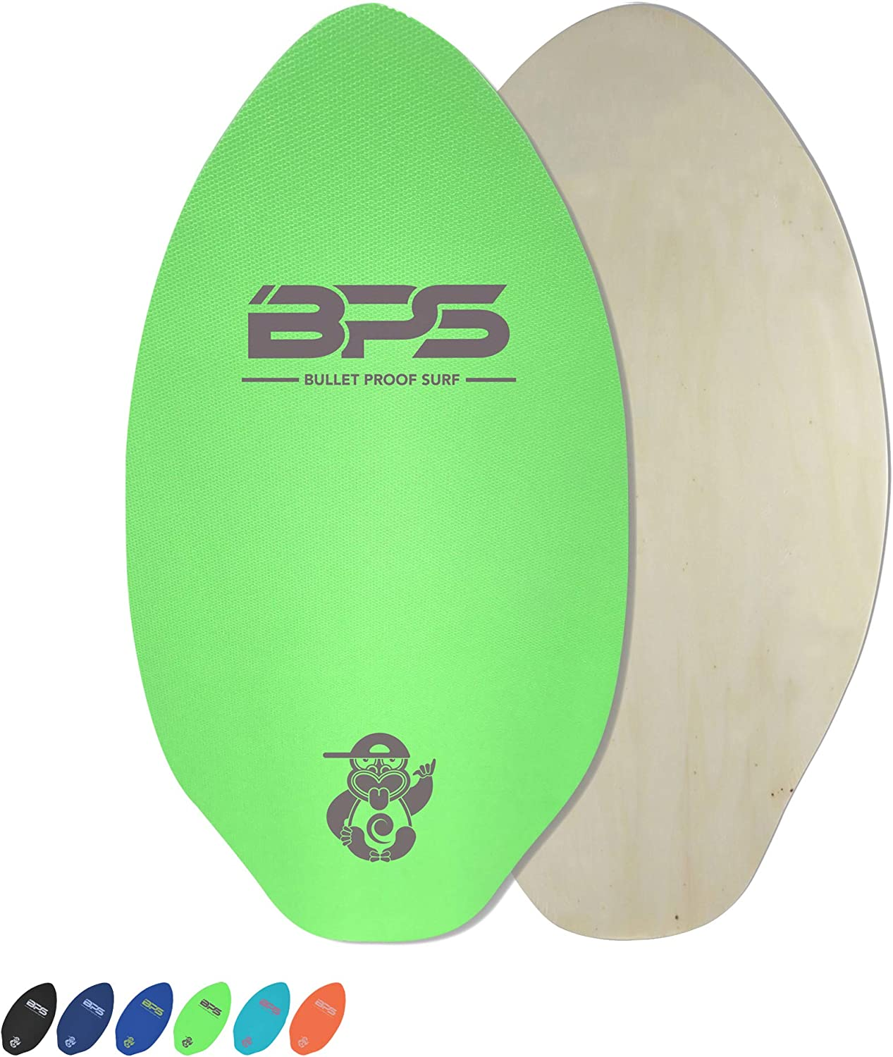 Wooden Skim Board with Grip Pad for Kids and Adults Choose from 3 Sizes and Traction Pad Color BPS Shaka Skimboards with Colored EVA Grip Pad and High Gloss Clear Coat