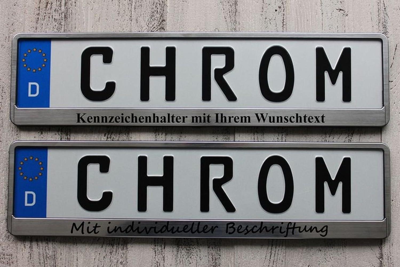 2 Stück Kennzeichenhalter CHROM GEBÜRSTET mit Wunschtext ...
