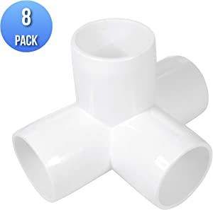 (8-PACK) 4-Way 1 inch SCH40 PVC Fitting, Tee Pipe Fittings PVC Connectors - Build Heavy Duty Furniture Grade for 1 inch Size Pipe, White (8)