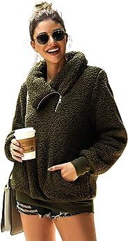 LANISEN Women Fleece Sweatshirt Fuzzy Sherpa Pullover Zip Faux Fur Coat Outwear