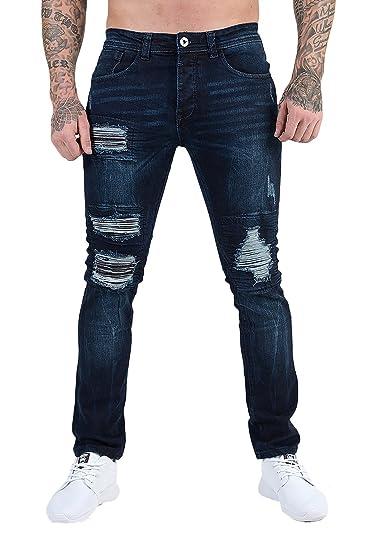c8f8f503ac57 Mens ETO Designer Jeans Skinny Slim Rip & Repair Stretch Distressed Funky  Stylish Pants Bottoms 3 Washes: Amazon.co.uk: Clothing