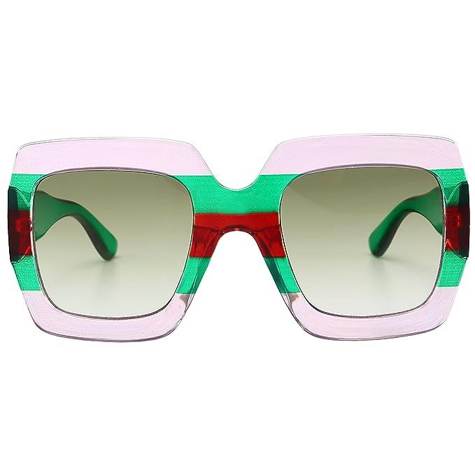 eb00e6197b Gobiger Trendy Luxury Square Oversized Sunglasses for Women Brand Designer  Shades (Gradient Green)