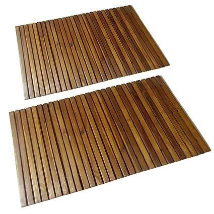 Tappetini da bagno KOTOM in legno, tappetino da bagno in legno ...