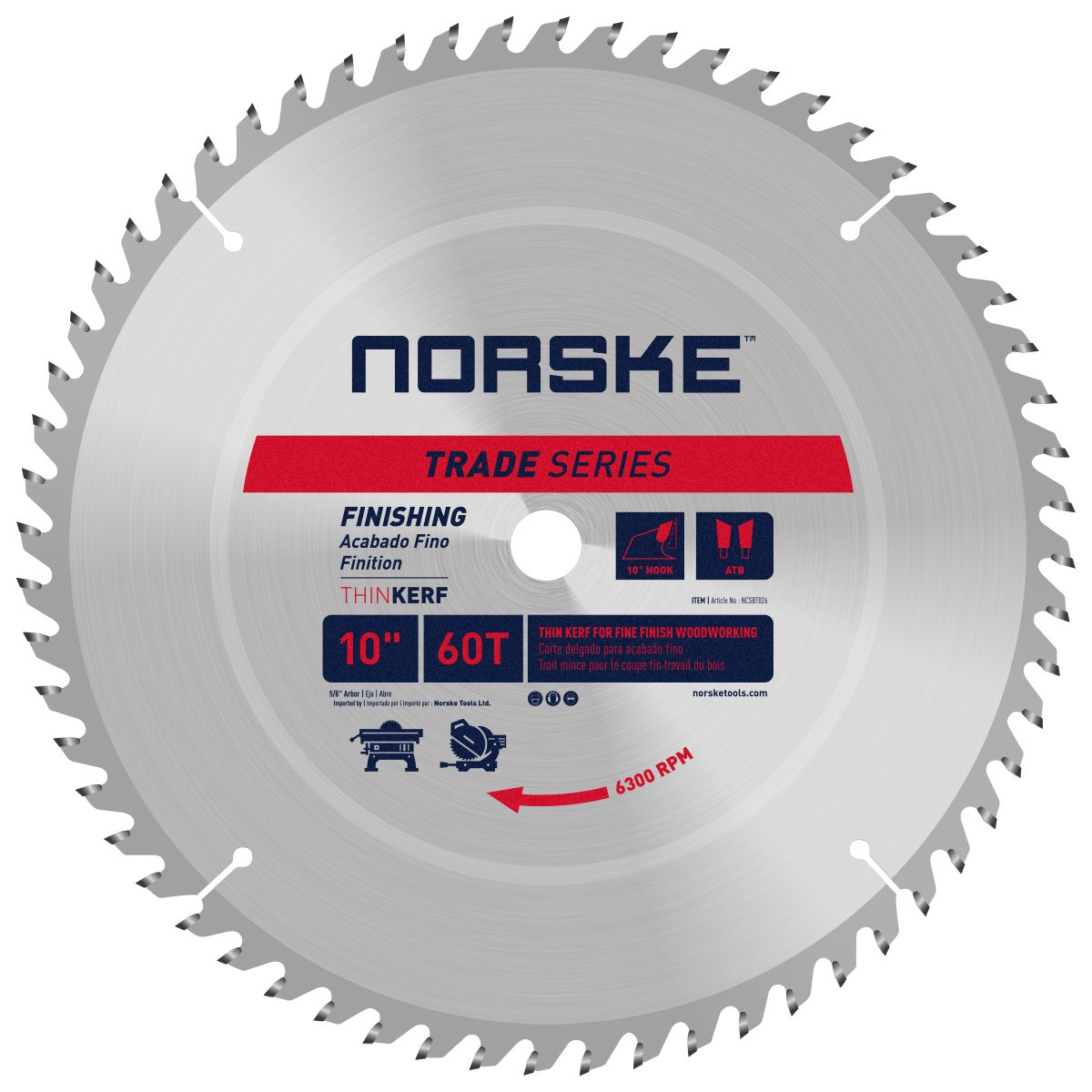 Norske Tools NCSBT150C 10 x 28T Framing Saw Blade and 10 x 60T ...