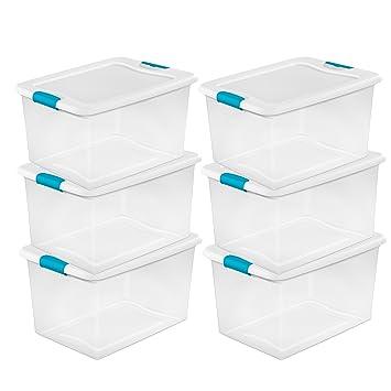 sterilite 64 quart clear storage tote wlid 2334x16x13