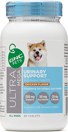 GNC Pets Ultra Mega Urinary Support Chewable Tablets Supplement for Dogs, 90 Count – Chicken Flavor Made with Cranberry for Urinary Tract Health FF13786