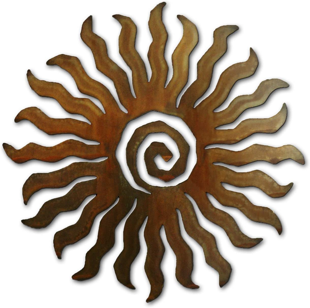Spiral Sun – Two Dozen Rays Metal Wall Art – 18 inches – Rust Finish – Crafted in USA