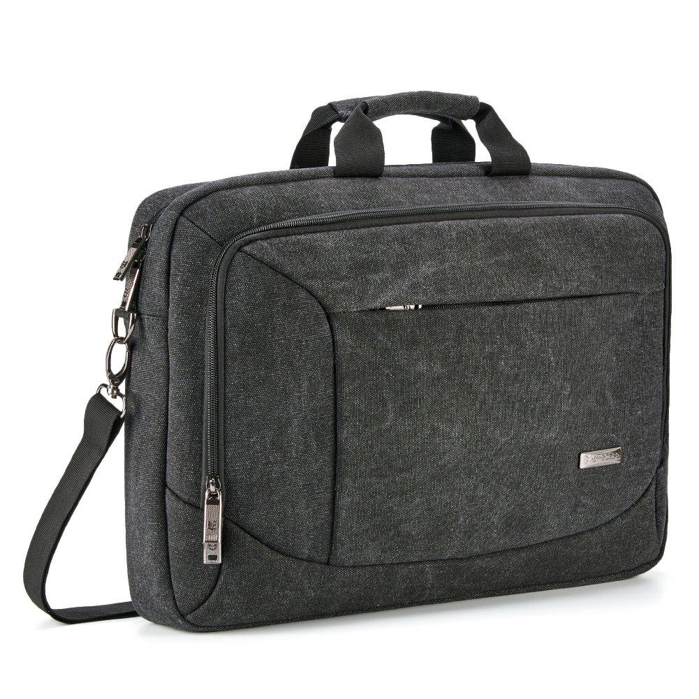 17.3 inch Laptop Messenger Bag, Evecase 17.3'' Canvas Shoulder Bag - Dark Grey w/Handles, Shoulder Strap, and Multiple Accessory Pockets