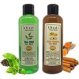 Khadi Herbal Natural Skin Brightening Haldi and Chandan Face Wash and Tea Tree Foaming Face Wash (200 ml Combo)