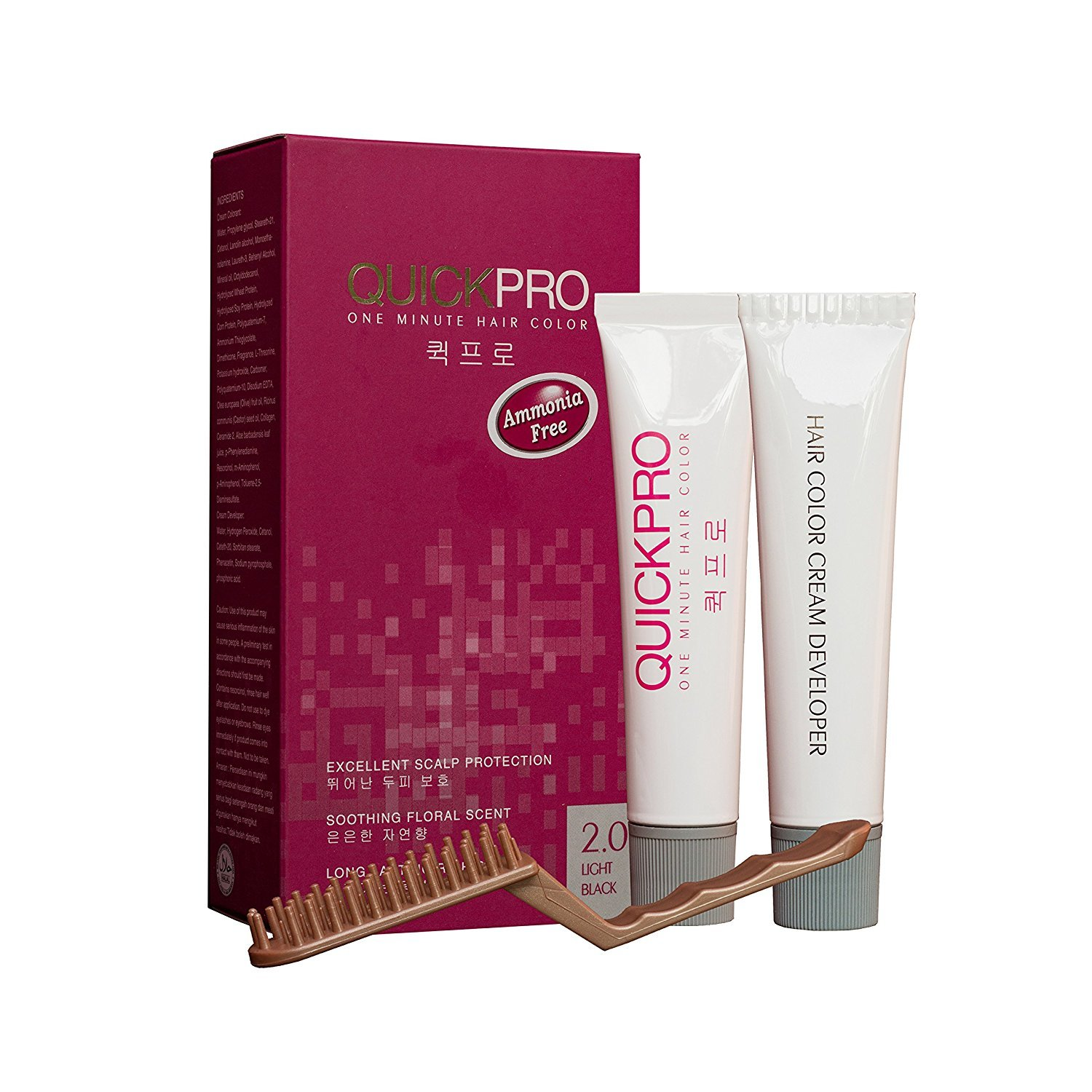 QuickPro Permanent Hair Color, 4.0 Medium Brown, Ammonia Free Medium Brown Color Nourishing Hair Color Creme