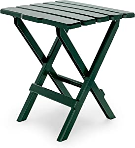 Camco Large Adirondack Portable Outdoor Folding Side Table - Perfect for The Beach, Camping, Picnics, Cookouts and More - Weatherproof and Rust Resistant - Green (21037)