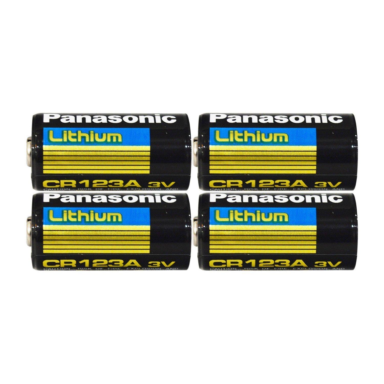 "Panasonic CR123A Lithium 3V Photo Lithium Batteries, 0.67"" Dia x 1.36"" H (17.0 mm x 34.5 mm), Black, Gold, Blue (Pack of 4)"
