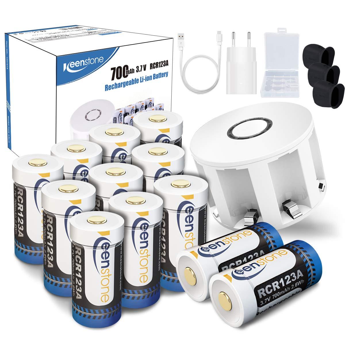 RCR123A Arlo Cam/éra Batterie Rechargeable,Keenstone CR123A CR123 Piles Li-ION 3.7V 700mAh Id/éal pour Arlo Cam/éra VMS3030//3130//3230//3330//3430 avec Housse en Silicone(4PCS)