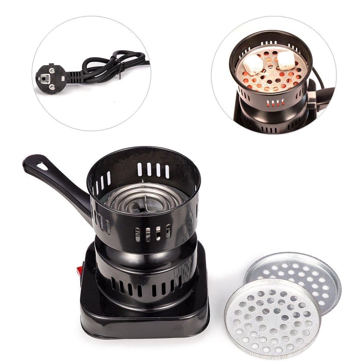 MERITON 600W Heat Up électrique Grill Briquet Allume Réchaud Carbone pour Shisha Chicha Narguilé Hookah Barbecue BBQ(Noir)