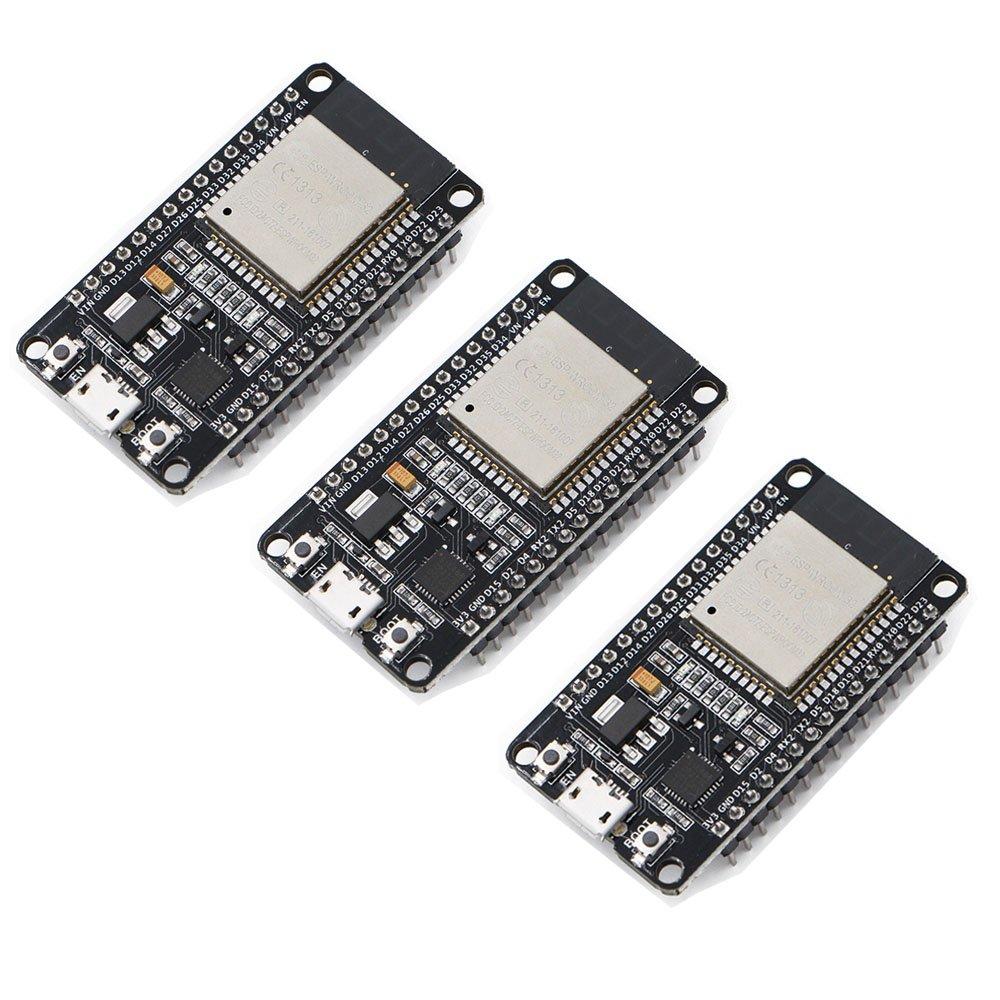 Xiuxin 3pcs/lot ESP32 Development Board 2.4GHz Dual-Mode WiFi + Bluetooth Dual Cores ESP32s Antenna module board for Arduino IDE,Work with Amazon Alexa