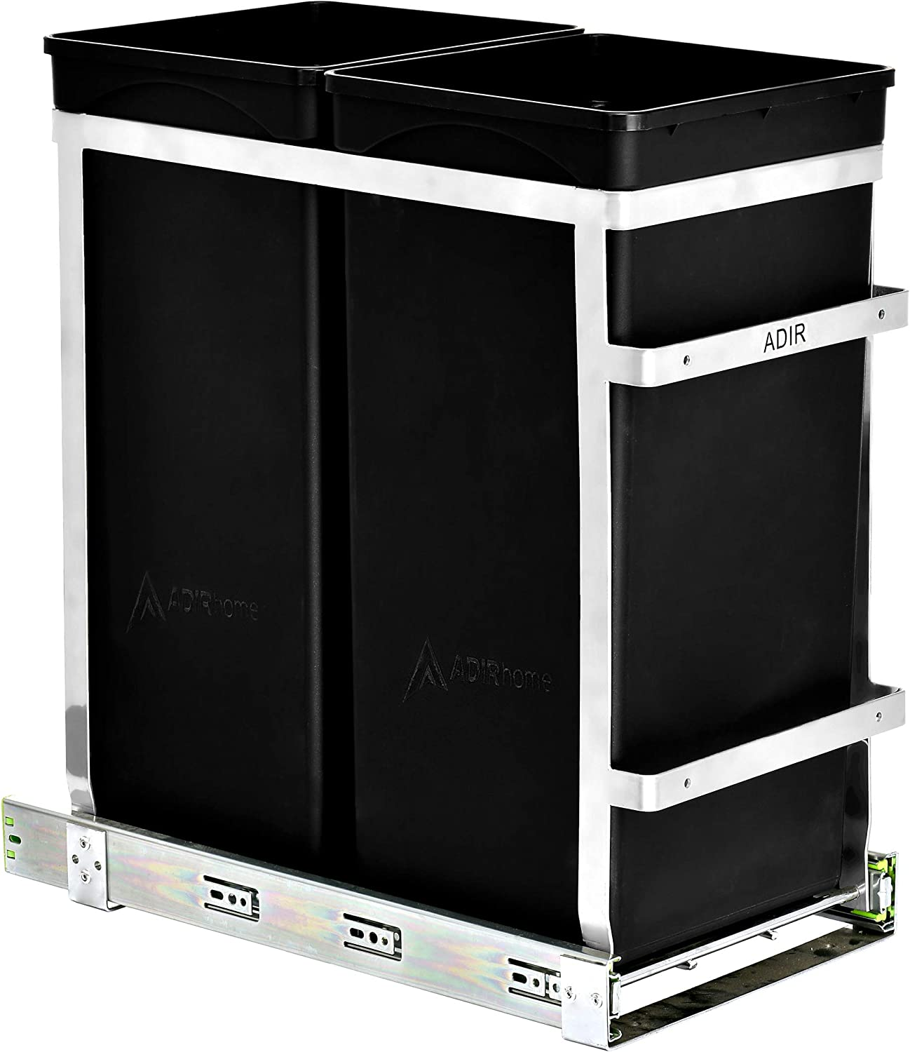 AdirHome Double Roll-Out Under-Counter 36- Liter (9.5 Gallon) Waste System - Undermount Garbage Organizer for Food Scraps and Trash - Mounted Buckets for Bathroom Shelves, Kitchen Counter and Garage