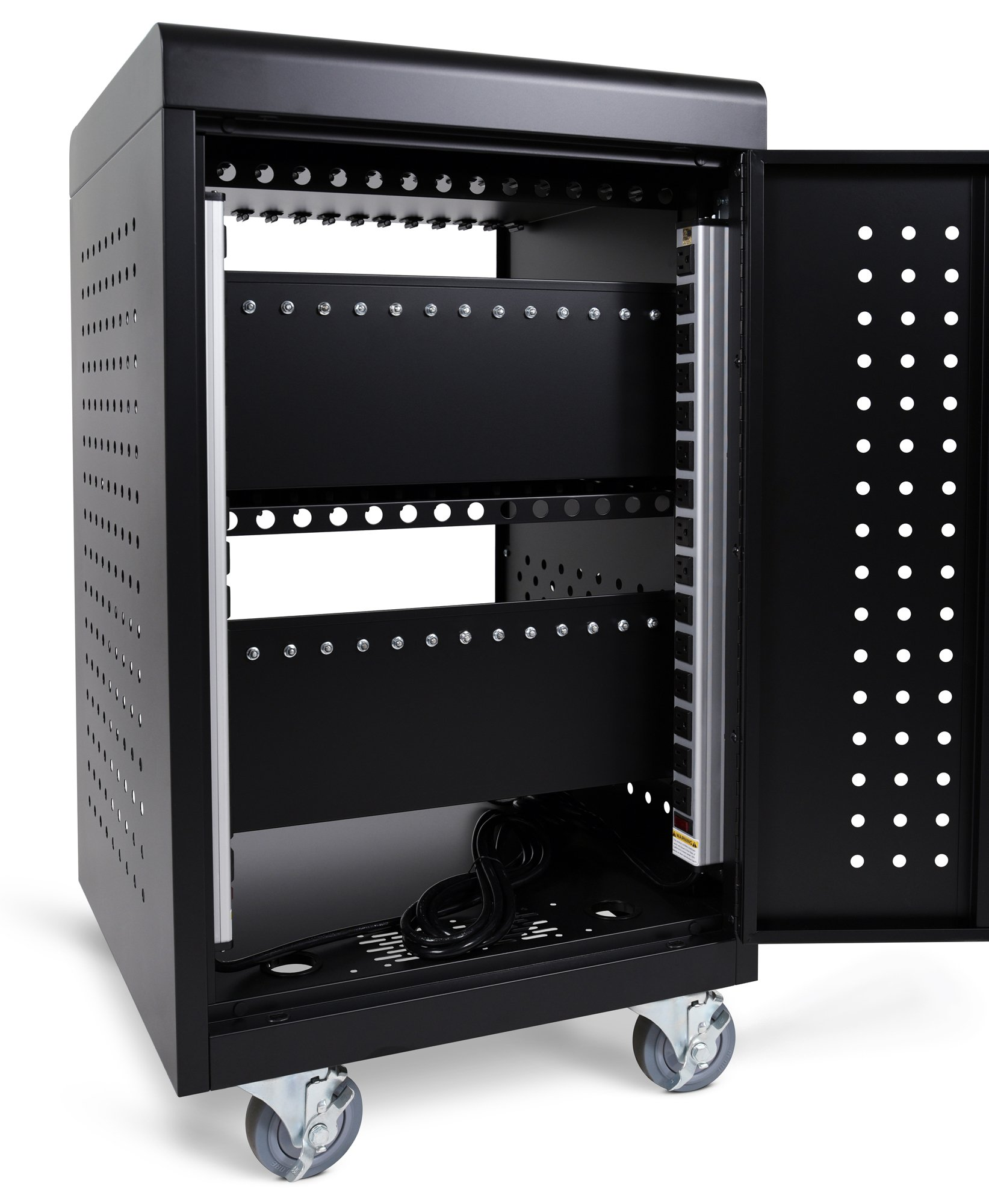 Line Leader Compact Mobile Charging and Storage Cart, Mobile Lab Holds 30 Tablet/Chromebook | Includes Two 15-Outlet Power Strips | Locking Cabinet | Perfect for Schools and Classrooms! by Stand Steady (Image #1)